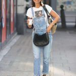 Melanie Sykes in a Blue Denim Jumpsuit Was Seen Out in London
