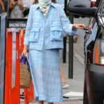 Olivia Palermo in a Bandana as a Face Mask Leaves a Business Meeting in Manhattan