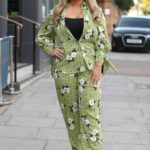 Saffron Lempriere in a Floral Green Summer Suit on the Set of The Only Way is Essex TV Show in Essex
