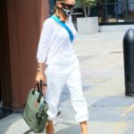 Sarah Jessica Parker in a White Blouse Leaves Her Shoe Store in the Seaport District in New York