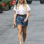 Sian Welby in a Denim Shorts Leaves the Global Radio Studios in London