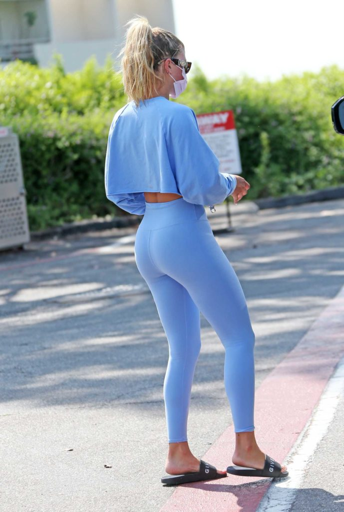 Sofia Richie in a Light Blue Workout Clothes