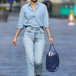 Vogue Williams in a Blue Tight Denim Trousers Was Seen Out in London