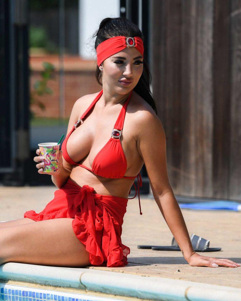 Yazmin Oukhellou in a Red Bikini