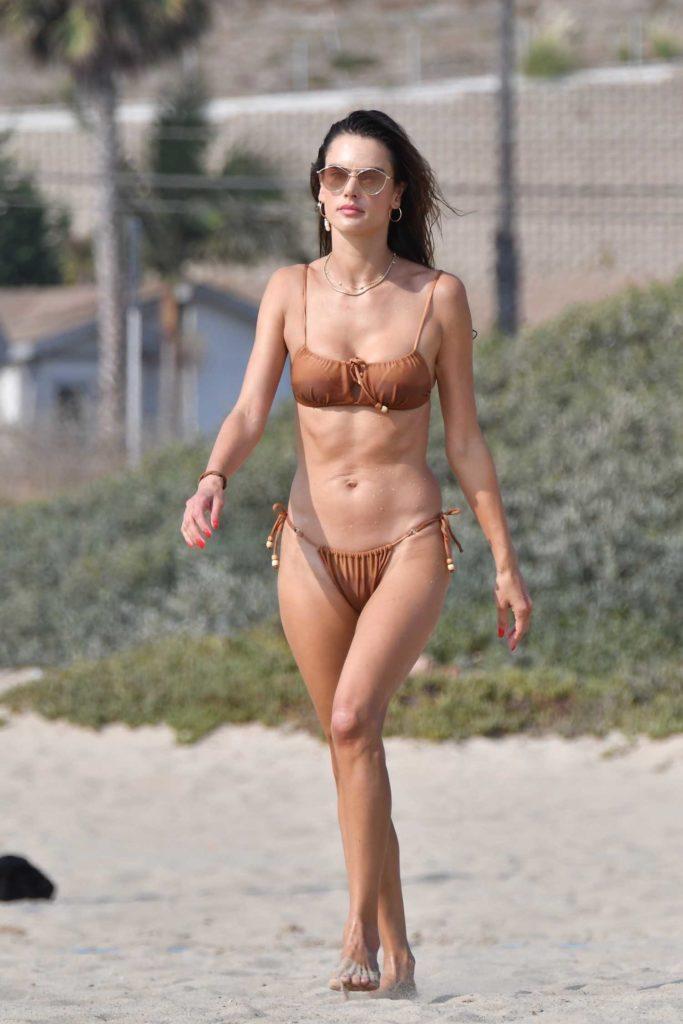 Alessandra Ambrosio in a Tan Bikini