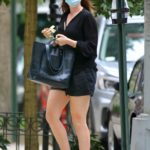 Anne Hathaway in a Black Shorts Was Seen Out in New York