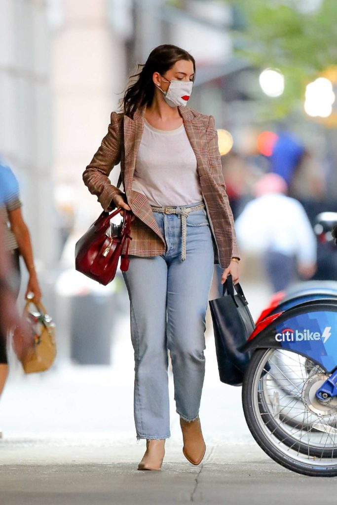Anne Hathaway in a Protective Mask