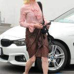 Anne Heche in a Pink Blouse Heads in to the DWTS Studio in Los Angeles