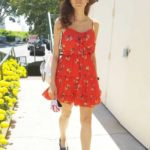 Blanca Blanco in a Red Summer Dress Has Lunch at Chin Chin in West Hollywood
