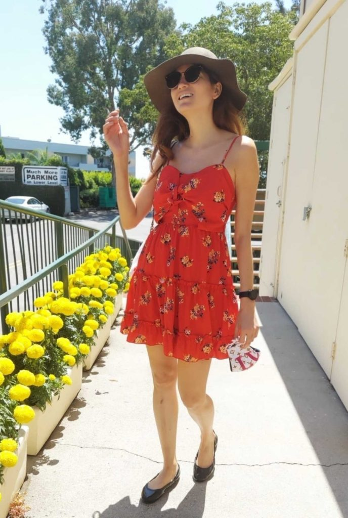 Blanca Blanco in a Red Summer Dress