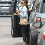 Brooke Burke in a Blue Denim Shirt Was Seen Out in Los Angeles