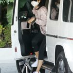 Cara Santana in a Protective Mask Arrives at the Argyle Hotel in West Hollywood