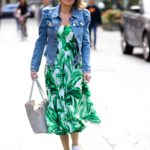 Charlotte Hawkins in a Green Floral Dress Arrives at the Heart Radio in London