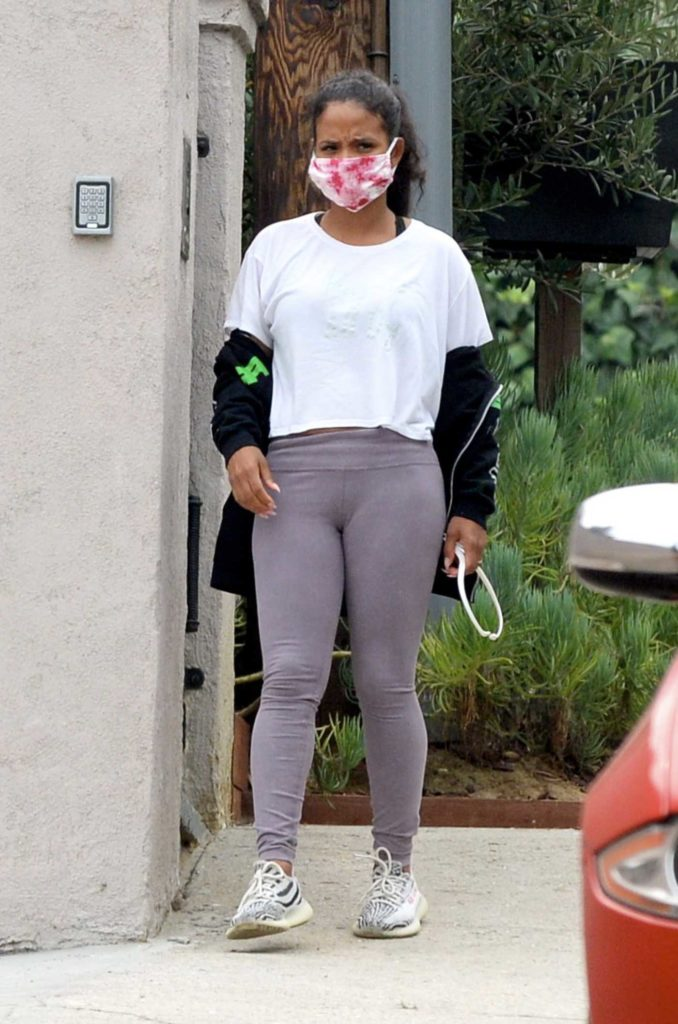 Christina Milian in a Protective Mask