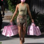 Christina Milian in an Olive Tank Top Goes Shopping in West Hollywood