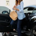 Cindy Crawford in a Light Blue Blazer Heads to a Hair Salon in Beverly Hills