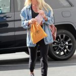 Daniella Karagach in a Ripped Denim Jacket Arrives at the DWTS Studio in Los Angeles