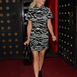 Denise Van Outen in a Black and White Dress Leaves Proud Embankment in London