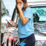 Drew Barrymore in a Light Blue Tee Was Seen Out in New York