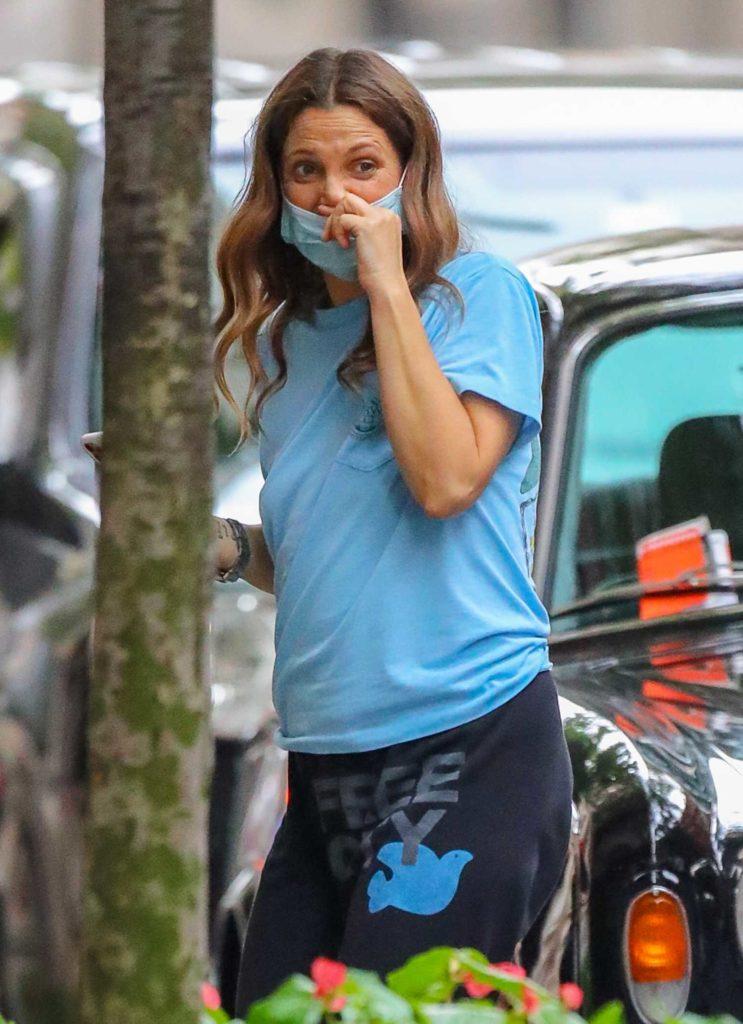 Drew Barrymore in a Light Blue Tee