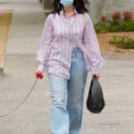 Dua Lipa in a Striped Shirt Walks Her Dog in West Hollywood