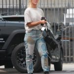 Emma Slater in a Beige Tee Arrives at the DWTS Studio in Los Angeles