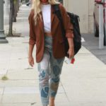 Emma Slater in a Brown Blazer Arrives at the Dance Studio in Los Angeles