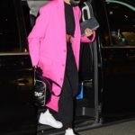 Hailey Bieber in a Pink Coat Was Seen Out in Milan