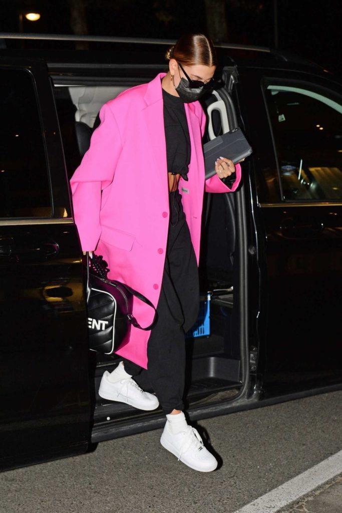 Hailey Bieber in a Pink Coat
