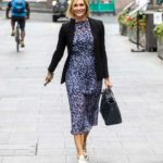 Jenni Falconer in a Black Blazer Leaves the Global Radio Studios in London
