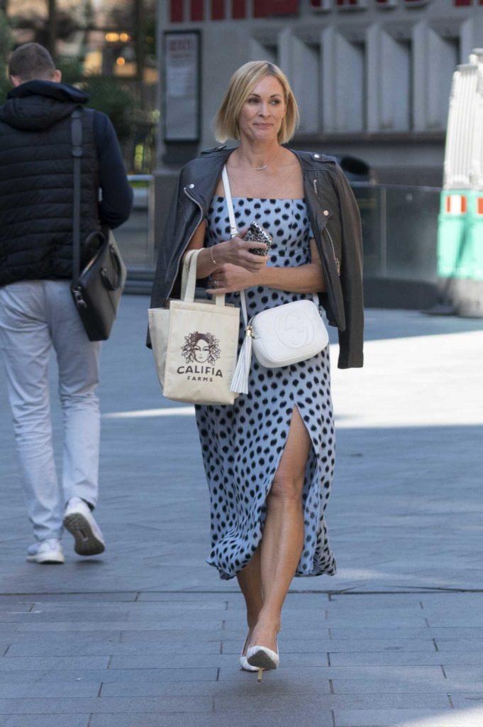 Jenni Falconer in a Light Blue Polka Dot Dress