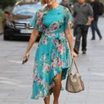 Jenni Falconer in a Turquoise Floral Print Dress Leaves the Smooth Radio in London