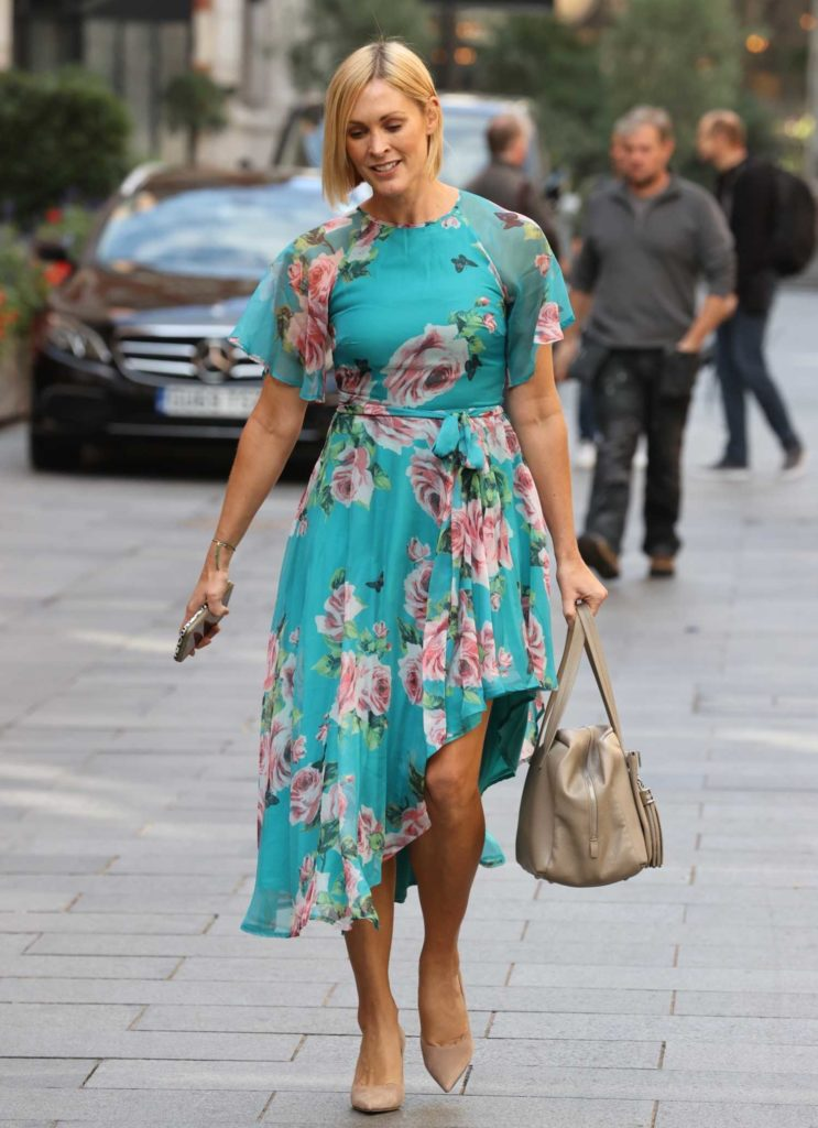 Jenni Falconer in a Turquoise Floral Print Dress