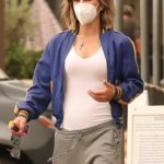 Jillian Michaels in a Protective Mask Leaves Lunch with a Friend at Kristy's in Malibu