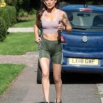 Katie Waissel in a Green Spandex Shorts Goes for a Run in London