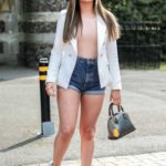 Kelsey Stratford in a White Blazer on the Set of The Only Way is Essex TV Show in Essex