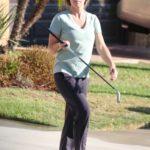 Kendra Wilkinson in a Black Track Pants Practices Her Golfing Skills in Los Angeles