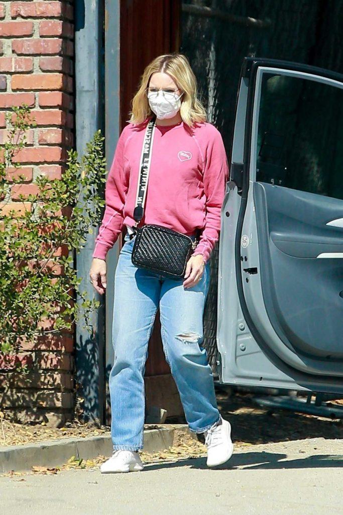 Kristen Bell in a Pink Sweatshirt