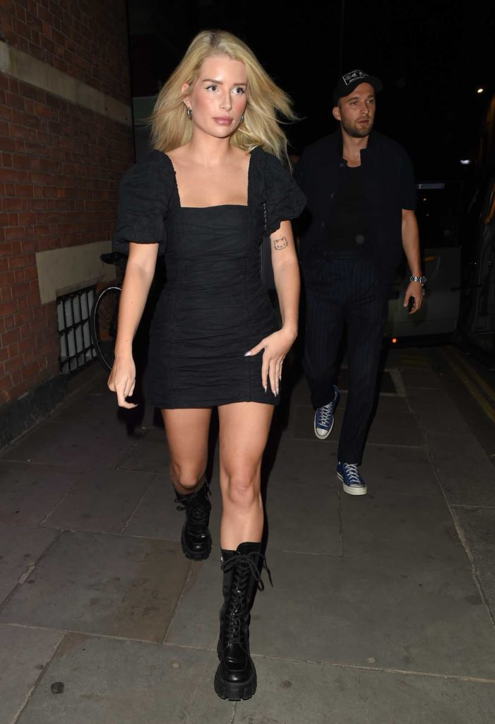 Lottie Moss in a Black Mini Dress