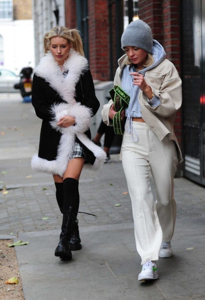 Lottie Moss in a Black Sheepskin Coat