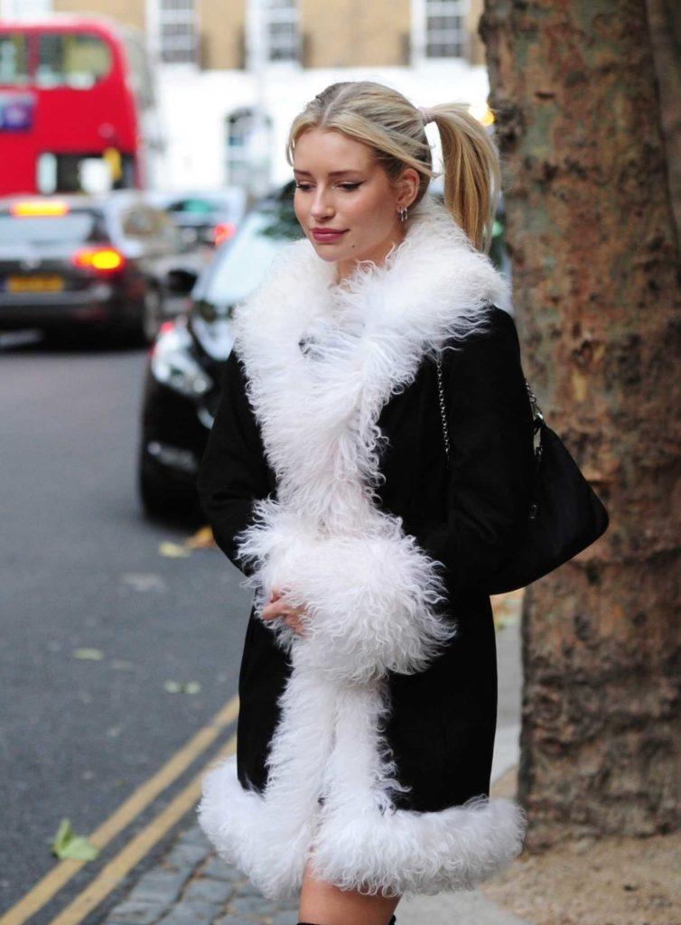Lottie Moss in a Black Sheepskin Coat