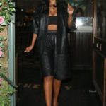 Maya Jama in a Black Leather Suit Leaves The Chelsea Ivy Garden in London