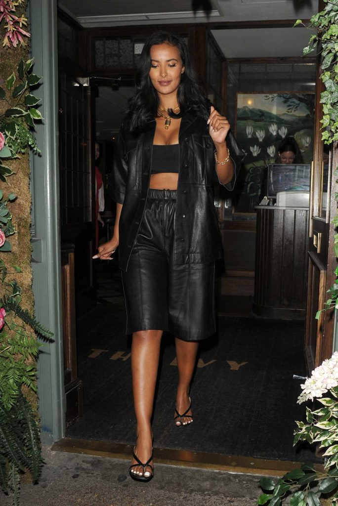 Maya Jama in a Black Leather Suit