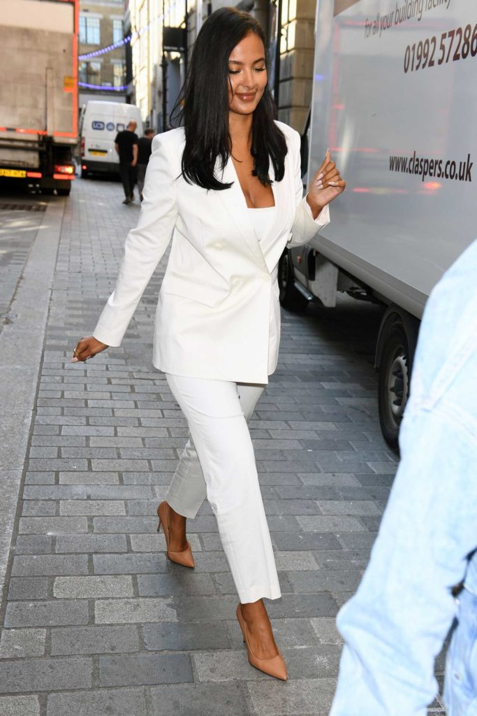 Maya Jama in a White Suit