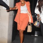 Maya Jama in an Orange Suit Enjoys a Girls Night Out in London