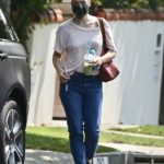 Milla Jovovich in a Protective Mask Visits a Friend in Los Feliz