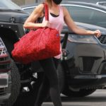 Monica Aldama in a Pink Tank Top Arrives at the DWTS Studio in Los Angeles