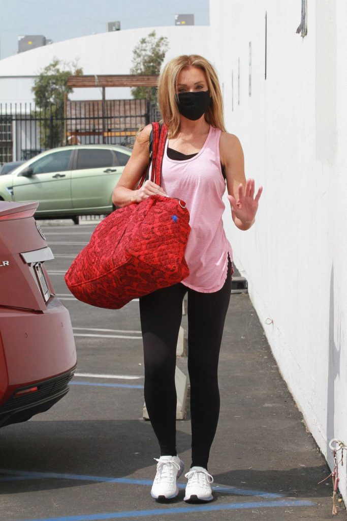 Monica Aldama in a Pink Tank Top