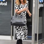 Myleene Klass in a Polka Dot Dress Leaves the Smooth Radio in London