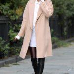 Olivia Palermo in a Beige Coat Walks Her Dog in Dumbo, Manhattan
